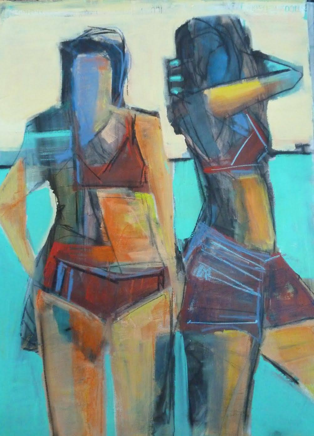 Bathers02_22x30 mixed media