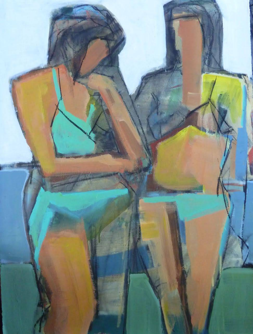 Bathers22x30 mixed media
