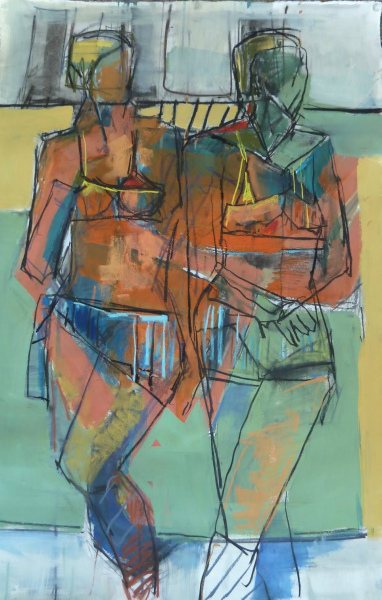 Swimsuits24x36mixed media-sold